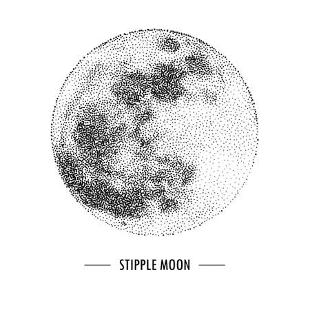 Halftone vector illustration of full moon, stipple Vettoriali