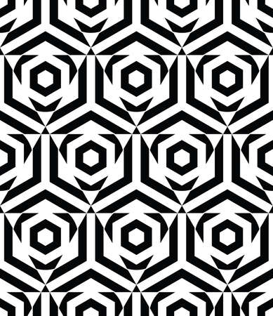 Seamless pattern with black hexagon and triangle