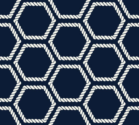 Seamless nautical rope pattern with hexagon shapes