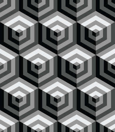 3d seamless pattern with gray hexagons ornament