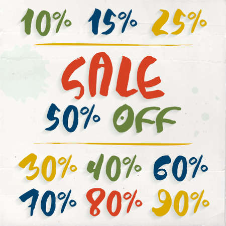 Set of Sale labels - numbers and percent sign in handdrawn childish style. Colorful elements on messy paper background. Vector tag for school discounts season Illusztráció