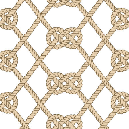 Seamless nautical rope pattern. Carrick Bend knot Vettoriali