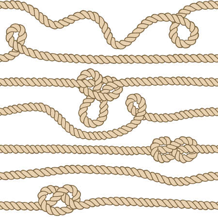 Vector endless nautical rope pattern, hand drawn Illustration