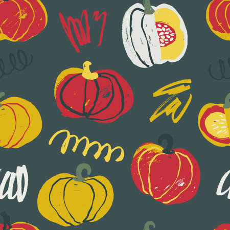 Seamless pattern with hand drawn rough pumpkins