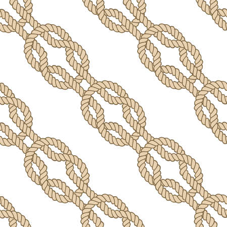 Seamless nautical rope pattern, vector square knot