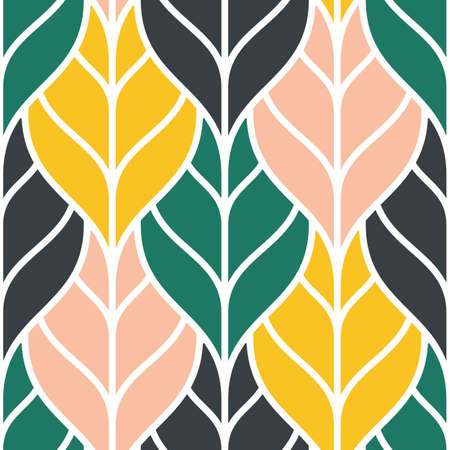 Cute seamless pattern with colorful outline leaves Vettoriali