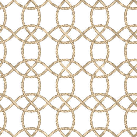 Seamless nautical rope pattern. Endless navy illustration with beige loop ornament. Decorative geometric lines isolated on white backdrop. Trendy nautic maritime style. For fabric, wallpaper, wrapping
