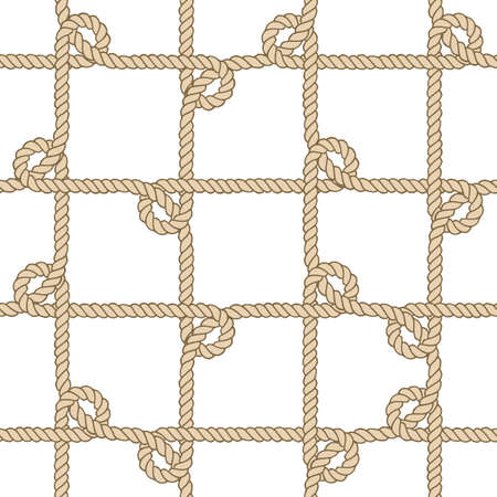 Seamless nautical rope pattern, beige on white