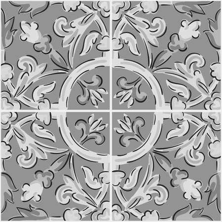 Decorative seamless pattern with sicilian ornament. Gray ceramic tiles in floral traditional style of Palermo. Vector endless texture for digital paper, fabric, backdrop or wrapping