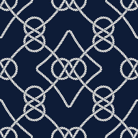 Vector endless nautical rope pattern, hand drawn Vettoriali