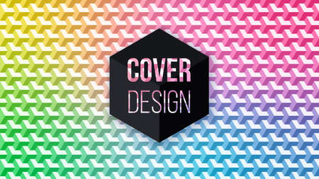 3d pattern with rainbow hexagons ornament, vector