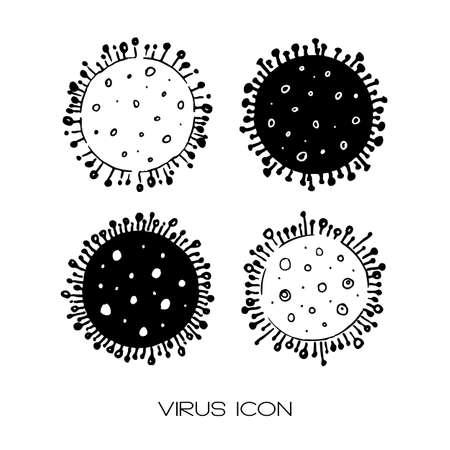Set of 4 hand drawn icons of coronavirus bacteria.