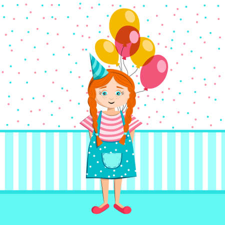 Little girl with a bunch of balloons celebrating birthday