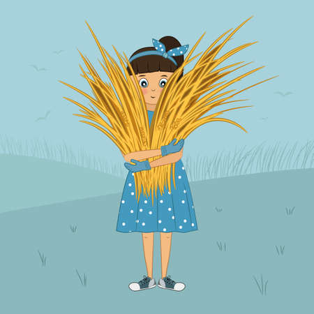 Little girl in dress and sneakers holds sheaf of wheat