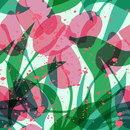 Seamless pink tulip vector pattern