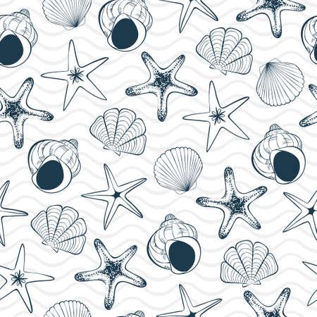 Seashells, sea stars and waves. Seamless pattern