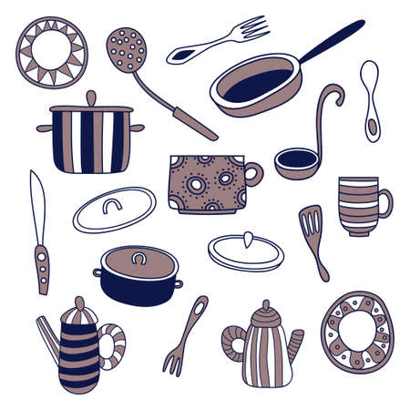 Set of kitchenware. Forks, cups, spoons, knives, plates, teapots, saucepan, ladle and frying pan