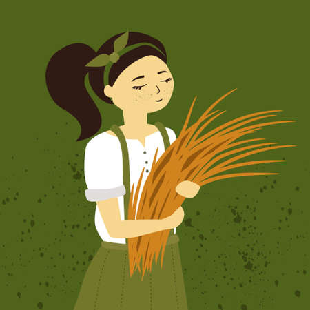 Farm girl with bunch of wheat