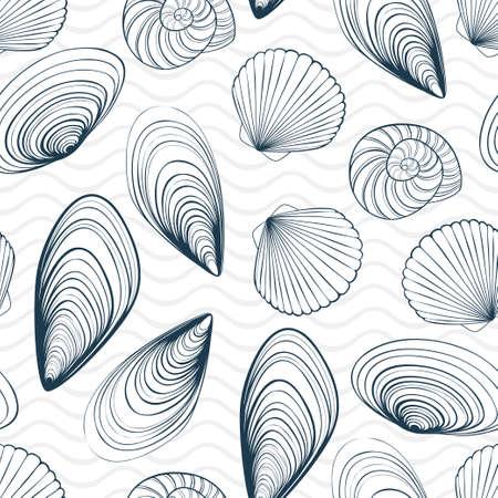 Marine vector seamless pattern. Seashells and waves