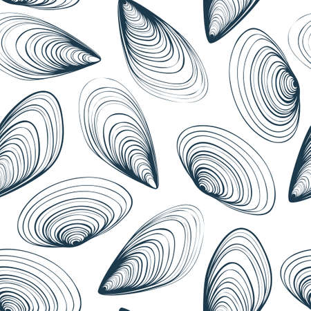 Marine vector seamless pattern with mussels