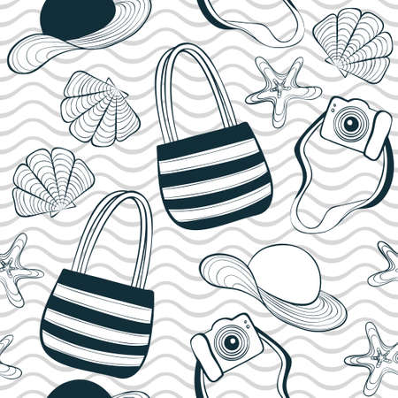 Summer seamless pattern with bags, seashells, stars and waves