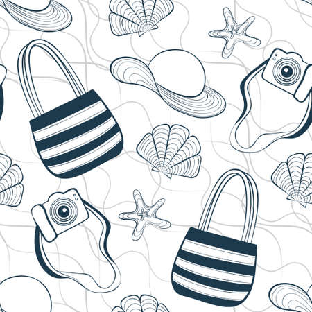 Vector seamless summer pattern with seashells, stars, camera, hat and beach bag  イラスト・ベクター素材