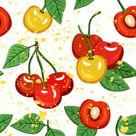 Seamless vector cherry pattern