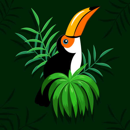 Toucan in tropical leaves illustration
