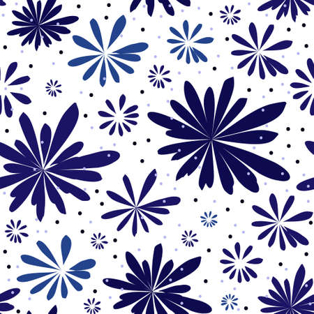 Seamless vector pattern with blue aster flowers 矢量图像