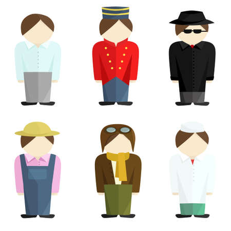 Office worker, farmer, pilot, doctor, detective and doorman. Set of icons
