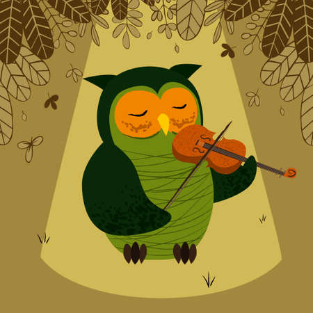 Green owl plays the violin Ilustrace