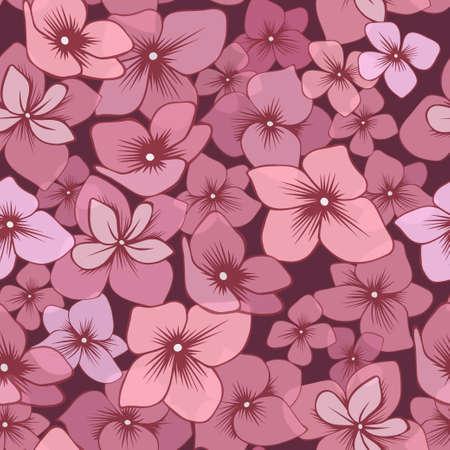 Seamless pattern with hand drawn pink hydrangeas Ilustracja