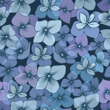 Seamless pattern with hand drawn blue hydrangeas