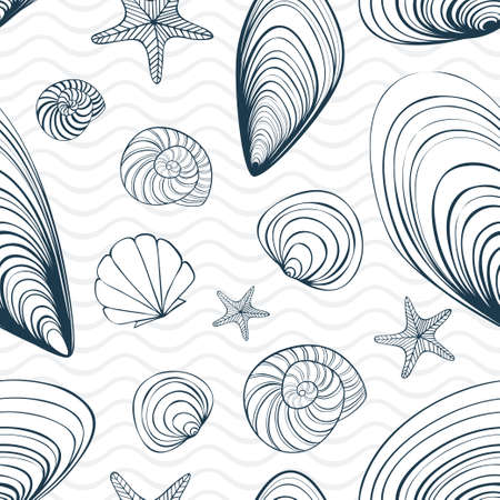 Seamless vector pattern with seashells and stars 写真素材 - 134202149