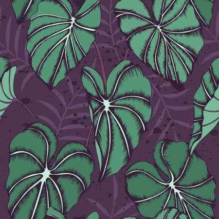 Seamless vector pattern with elephant ears plant leaves and palm branches