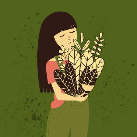 Chica granjera con ilustración de cosecha Ilustración de vector