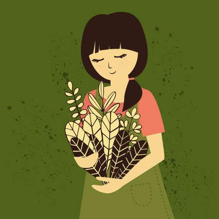 Girl in dress and T-shirt with floral bouquet Vektoros illusztráció