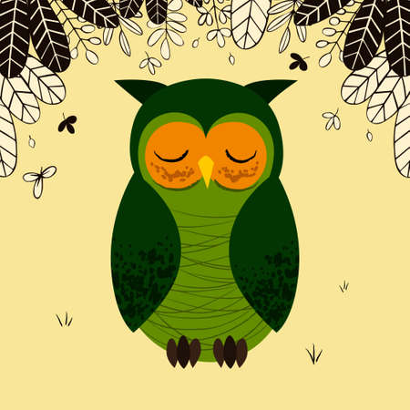 Cute sleepy owl illustration