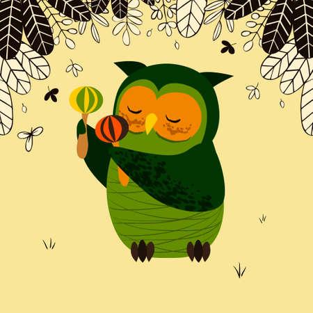 Cute owl with maracas illustration