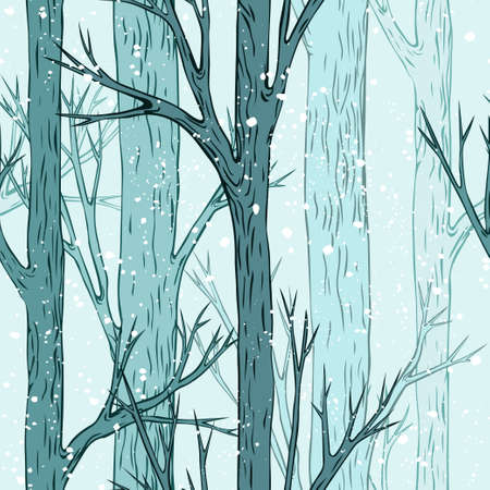 Seamless vector winter forest pattern