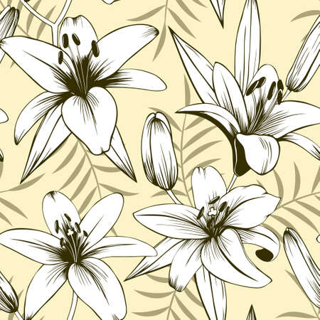 Seamless vector vintage pattern with lilies  イラスト・ベクター素材