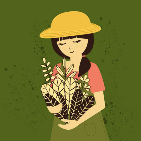 Farm girl in hat with bunch of flowers