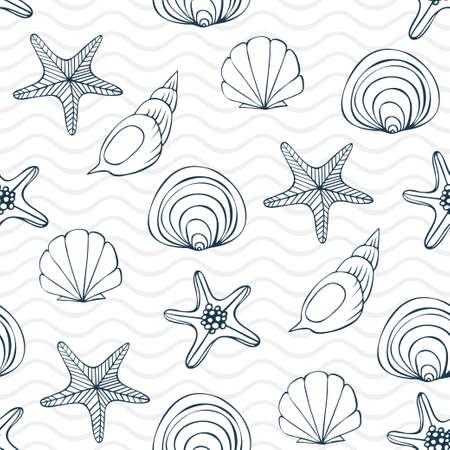 Seashells, sea stars and waves seamless ornament  イラスト・ベクター素材