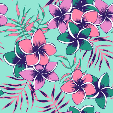 Seamless pattern with frangipani and palm leaves 일러스트