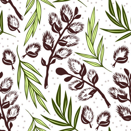 Willow branches seamless pattern