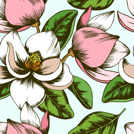 Magnolia floral seamless vector pattern