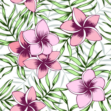 Seamless tropical frangipani and palm leaves background