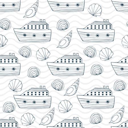 Seashells, ship and waves seamless pattern  イラスト・ベクター素材