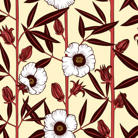 Hibiscus floral seamless vector pattern