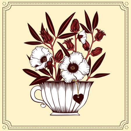 Hibiscus bouquet in tea cup